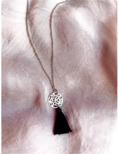Bransoletka z serduszkiem - morelowo srebrna