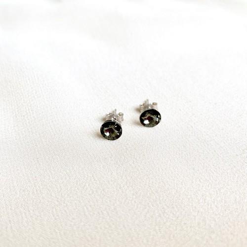Kolczyki z kryształkami - czarne przeźroczyste